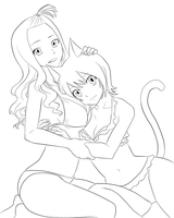 Mirajane and Lisanna Fantasia Artbook (Lineart) by Amzypop1