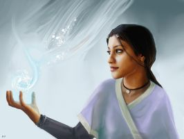 Katara and the Clouds by staplerchild
