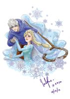 Jack Frost and Elsa by NohMasked