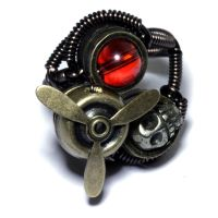Airship Pirate Steampunk Ring with Pyrite Skull by CatherinetteRings
