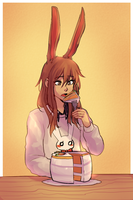 Velvet eating a carrot cake [COMMISH] by Keethy