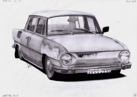 Skoda 100 - Revived Veteran (pencil drawing) by AjoslaF