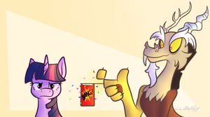 Discord Totally Shoots Twilight by Wonder-Waffle