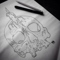 Skull and Candle Tattoo Design  by georgiatheunicorn21