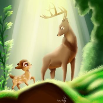30 Day Challenge - 28th - Bambi and his father by himehisagi