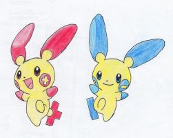 Plusle and Minun by apaskins1991