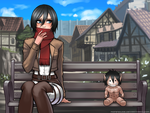 Mikasa and the little titan by RoninDude