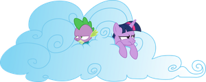Twilight and Spike in Cloud Fortress by Dusk2k