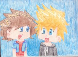 Sora and Roxas Chibi by the-giver-of-breath