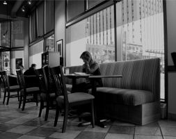 Alone at the cafe by BenoitAubry