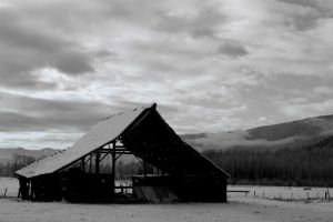 Winter Barn B and W by ProcterPhoto