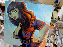 Tura Satana painting WIP 01 by ecofugal
