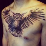 Owl chest piece by allentattoo