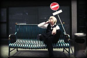 Cosplay Drrr - Shizuo 'n' sign by kei-devyluzth