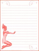 Rainbow Pinup Stationary Red by HigHHalo