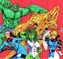 Fantastic four sketchcard puzzle by Rottinggiant