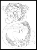 Dryad and Dragon - Lineart by White-Mantis