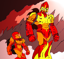 Bionicle- Banhi and Piras walking together by NickinAmerica
