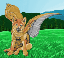 Winged wolf pup in ms paint by Archerionwolf