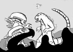 Godzilla vs. Aliens by Rixshaw