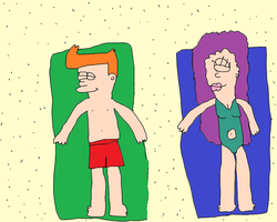 Fry and Leela Tanning by Simpsonsfanatic33