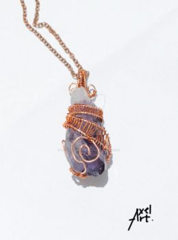 amethyst and copper pendant by Petronelodinobrianna