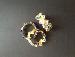 Bracelet, braided paper 04 by SecondChanceCrafts