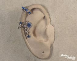 Silver and blue cartilage ear cuff by bodaszilvia