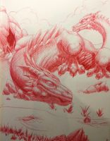 Red Ink Dragon by MirandaPavelle
