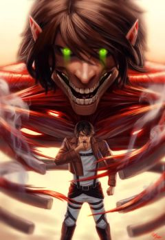 Attack on titan Eren Jaeger by SchneeKatze09