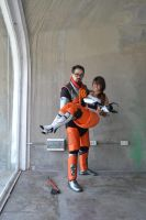 Gordon Freeman and Chell by DerpviantArt
