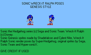 Sonic Wreck-It Ralph poses (Genesis Style) by TuffTony