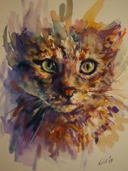 My cat watercolor by kostadinkostov