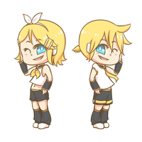 Chibi Kagamine!! by OpticalPopcorn