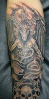 Baphomet sleeve by micaeltattoo