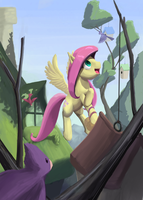 Fluttershy Feeding Birds by Bakuel