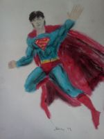 DC's Trinity-Various Mediums-Superman-Pastel by dhbraley