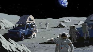 Space Tourism - Moon camping by Lasthielli