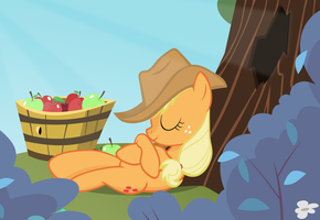 Applejack, asleep on the job by kas92
