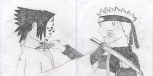Sasuke vs Naruto second form by KakashiSensei24