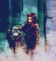 The girl and the wolf by Alea-Lefevre