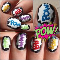 'pow' nails by Ninails