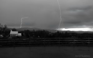 Double Lightning Strike over the Shenandoah by jarodkearney