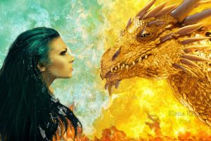 girl and dragon by Polinamay
