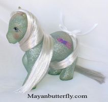 Silver Sky Rocket Rehaired G1 My Little Pony by mayanbutterfly