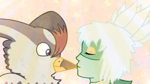 Roserade and Staraptor kissing on lips by 32d