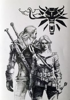 Geralt and Ciri - Wolf and Swallow by Fluexpr34