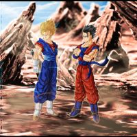 Fan art DBZ :  Bejito et Gohan mystique by Crakower