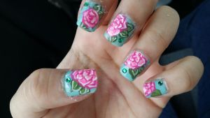 rose nail art by kittyangelprincess