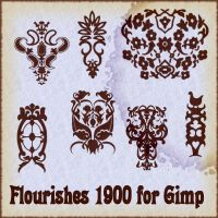 Flourishes 1900 brushes for Gimp by Lucida
